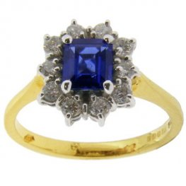 An Octagon Sapphire and Diamond Cluster Ring