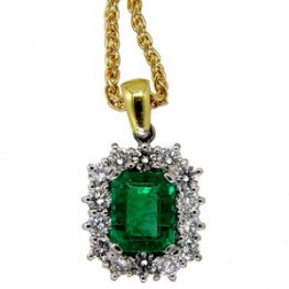 18k Emerald and Diamond Cluster Pendant and Chain
