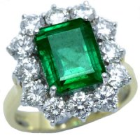 A Large Emerald cut Emerald and diamond Ring