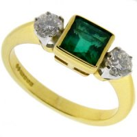 Square Emerald and diamond three stone ring 18k