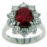 A Diamond and Ruby Cluster Ring