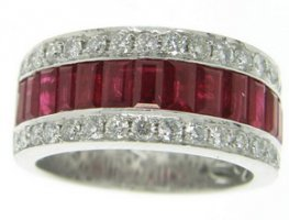Contemporary Baguette Ruby and Diamond Half Eternity Ring