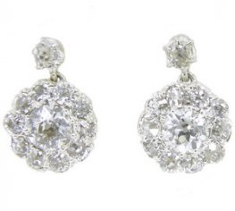 A pair of Victorian antique Old Cut Diamond Cluster Earrings