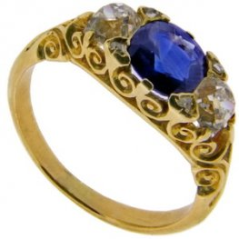 Vintage Carved Sapphire and Diamond Three Stone Ring