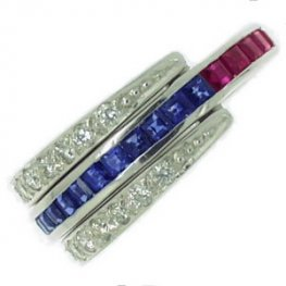 Contemporary Sapphire, Ruby and Diamond Swivel Eternity Ring