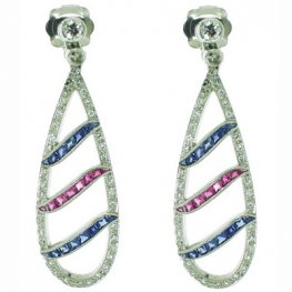 Diamond, Sapphire and Ruby Pendant Earrings in Platinum