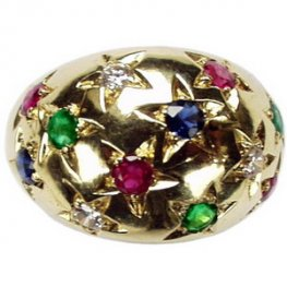 Vintage Diamond and Gemstone ring. Sapphire, Rubies, Emeralds