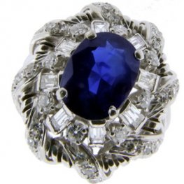 Platinum Fancy Sapphire and Diamond Cluster Ring