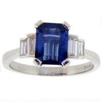 Art Deco style Octagon Sapphire and Baguette Cut Diamond Ring