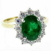 18k Gold Columbian Emerald Ring set with Diamonds