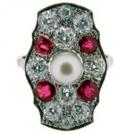 Art Deco diamond ring rubies and pearl- white shank 18ct PLAT