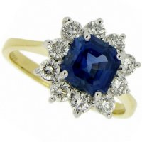 A Beautiful Blue18k Square Sapphire Cluster Ring