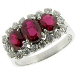 Ruby Cluster Ring - A Triple Cluster with Diamonds