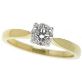 Modern Brilliant Cut Solitaire engagement ring. Diamond 0.51cts