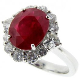 Oval Ruby and Diamond Cluster Ring 18k White 750