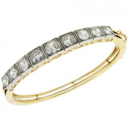 Antique Diamond Bangle with hand carved detail