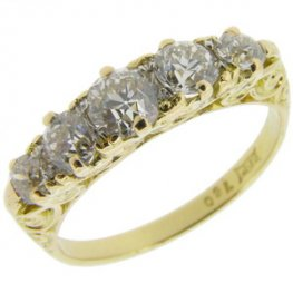 Victorian old cut diamond five stone ring