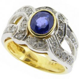 A Fancy Sapphire and Diamond Single Dress Ring