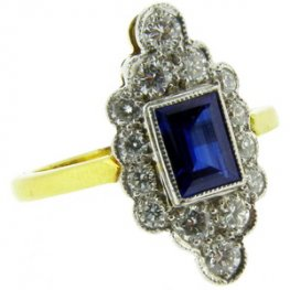Art Deco style Baguette Cut Sapphire and Diamond Cluster Ring