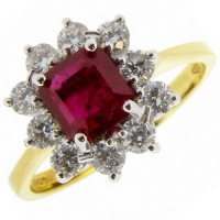 A Traditional Octagon Ruby and Diamond Cluster Ring