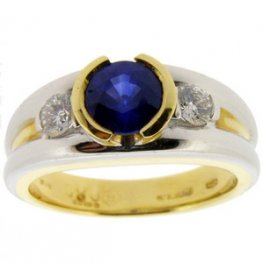 A Modern Sapphire and Diamond Trilogy Ring