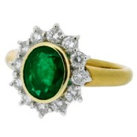 Emerald & Diamond Ring. Deep Green Emerald