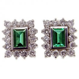 Vintage Emerald earrings set with brilliant cut diamonds
