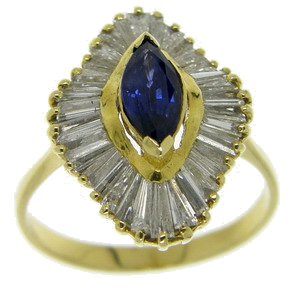 Marquise Shaped Sapphire & Diamond Ballerina Cluster ring - Click Image to Close