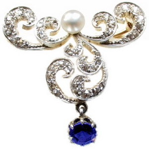Art Nouveau Diamond, Sapphire & Pearl Brooch - Click Image to Close