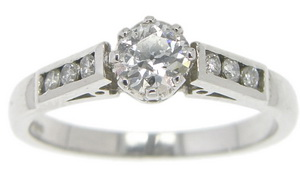 Edwardian Solitaire Diamond set in a contemporary platinum ring - Click Image to Close