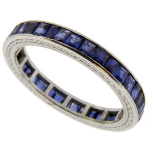 A classic Square Cut Sapphire Full Eternity Ring, Size N 1/2 - Click Image to Close