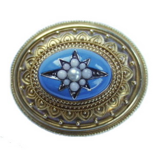 Victorian Blue Enamel and Half Pearl Locket Brooch - Click Image to Close