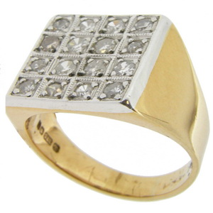 Gents diamond ring. A Gents Diamond Plaque Ring. Marked 9ct - Click Image to Close