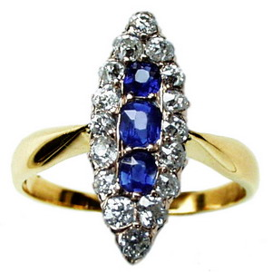 Victorian Navette Sapphire & Old Cut Diamond Marquise Ring - Click Image to Close