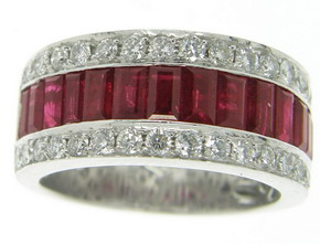 Contemporary Baguette Ruby and Diamond Half Eternity Ring - Click Image to Close