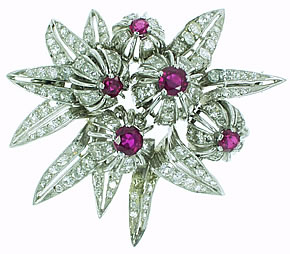 Ruby & Diamond Floral Brooch circa 1960's - Click Image to Close