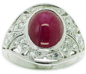 Art Deco Cabochon Star Diamond & Ruby Dress Ring - Click Image to Close