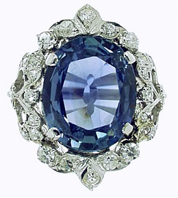 Belle Epoque Ceylon Sapphire and Diamond Cluster Ring - Click Image to Close