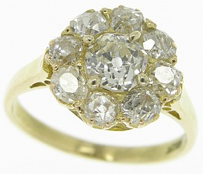 Antique Victorian Diamond Cluster Ring - Click Image to Close