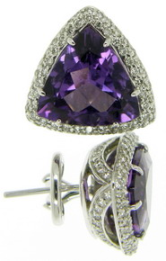 Trilliant Amethyst and Diamond Earrings - Click Image to Close