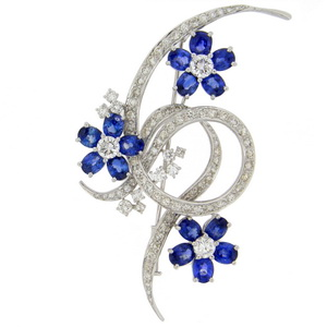 Sapphire and Diamond Floral Brooch - Click Image to Close