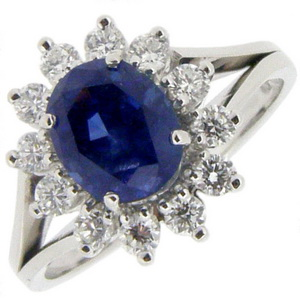 18ct Gold Sapphire and Diamond Engagement Ring - Click Image to Close