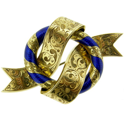 Victorian Gold and Enamel Knot Brooch - Click Image to Close