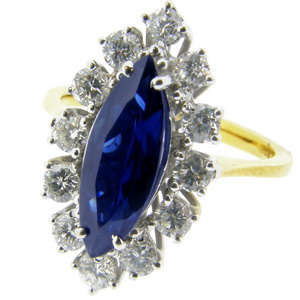 Sapphire and Diamond Navette Cluster Ring - Click Image to Close