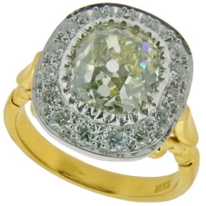 Old Cushion Cut Diamond Cluster Ring - Click Image to Close