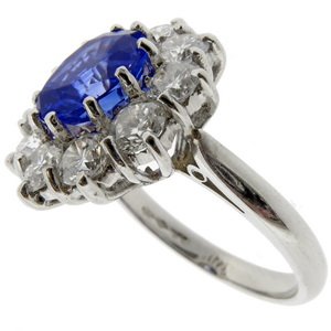 Ceylon Sapphire and Diamond cluster ring - Click Image to Close