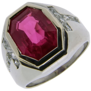 Very Fine Art Deco Burma Ruby Ring - Click Image to Close