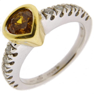 Orange Diamond Single Stone Ring - Click Image to Close