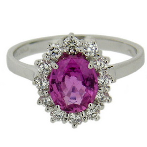 18k Oval Pink Ruby Ring - Click Image to Close