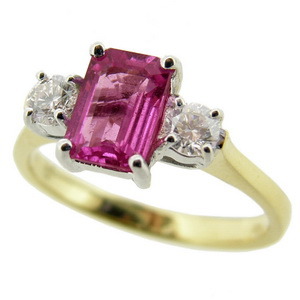 Pink Sapphire Ring -3 Stone - Click Image to Close